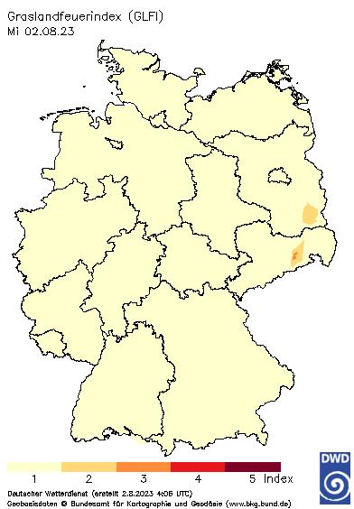 Grasland - Feuerindex - Quelle: DWD