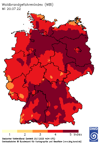 Anzeige Waldbrandgefahrenindex
