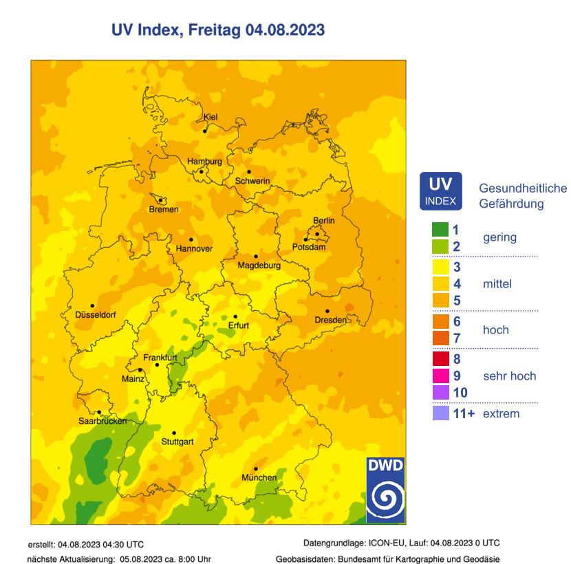 © DWD | Internetwetter -wissen, wie das Wetter wird- | UV-Index Vorhersage