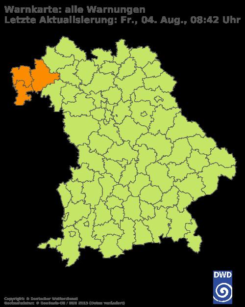 Warnkarte für Bayern vom Deutschen Wetterdienst