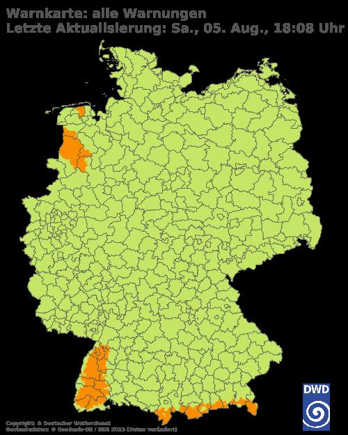 Warnungen Gemeinde Karte