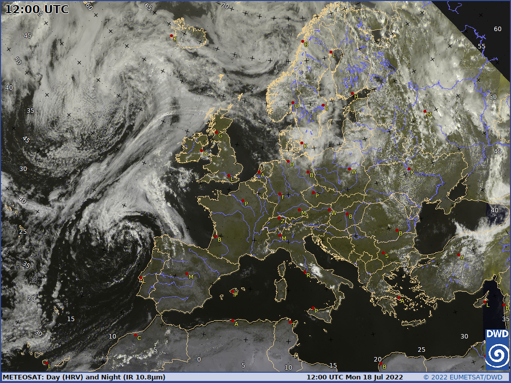 Satellitenbild Mitteleuropa