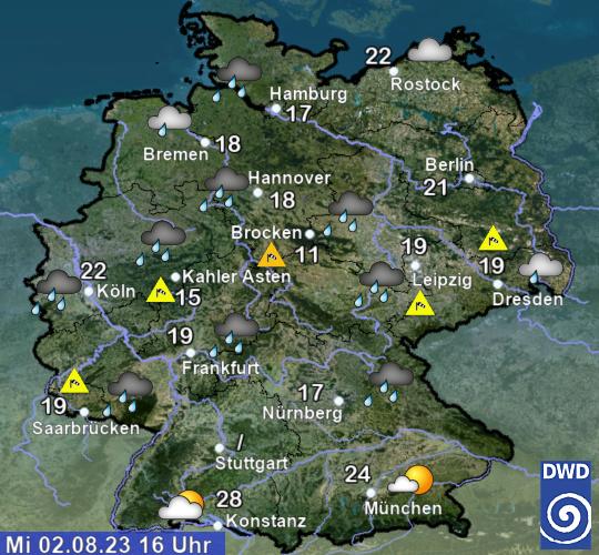 Aktuelles Wetter und Temperatur © DWD