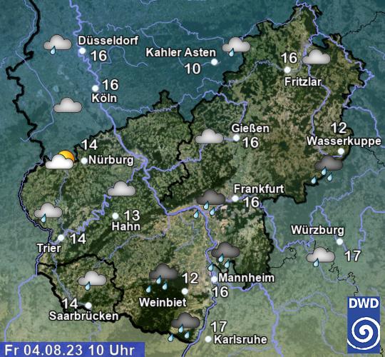 aktuelle Wetterlage aus Hessen, Rheinland-Pfalz und Saarland