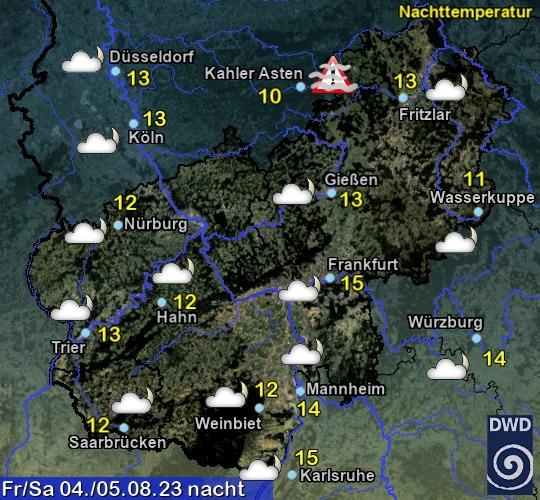 Vorhersage für heute mit Nachttemperatur und Wetter für Region Mitte