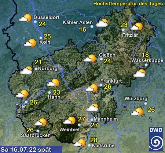 Vorhersage für heute mit Höchsttemperatur und Wetter für Region Mitte