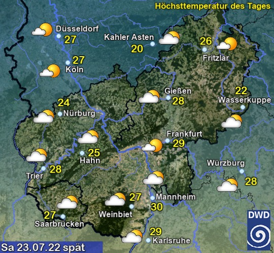 Vorhersage für morgen mit Höchsttemperatur und Wetter für Region Mitte