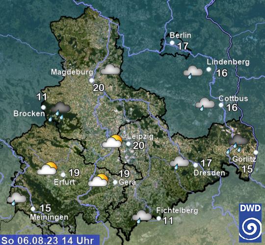 aktuelles Wetter und aktuelle Temperatur Region Ost