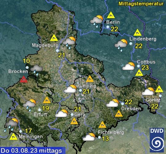 Vorhersage für heute mit Mittagstemperatur und Wetter für Region Ost