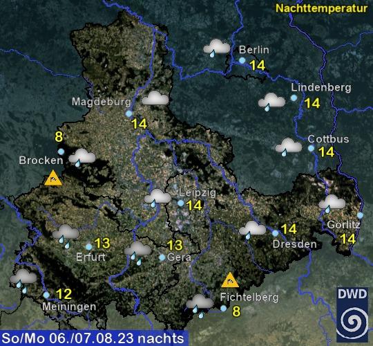Vorhersage für heute mit Nachttemperatur und Wetter für Region Ost