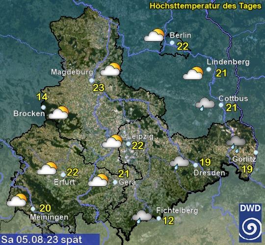Vorhersage für heute mit Höchsttemperatur und Wetter für Region Ost