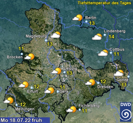 Vorhersage für morgen mit Höchsttemperatur und Wetter für Region Ost