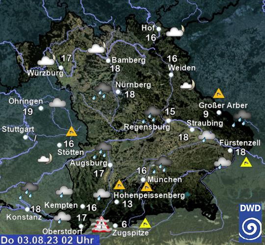 Aktuelles Wetter in Bayern