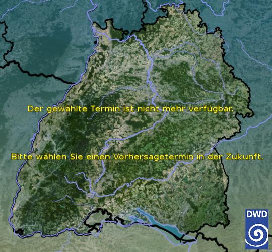 Vorhersage für heute früh mit Tiefsttemperatur und Wetter für Region Suedwest