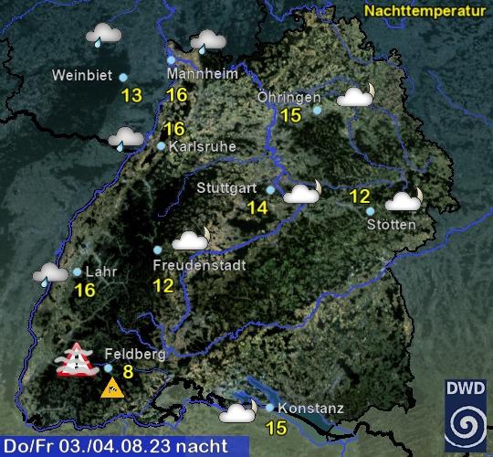 Vorhersage für heute mit Nachttemperatur und Wetter für Region Suedwest