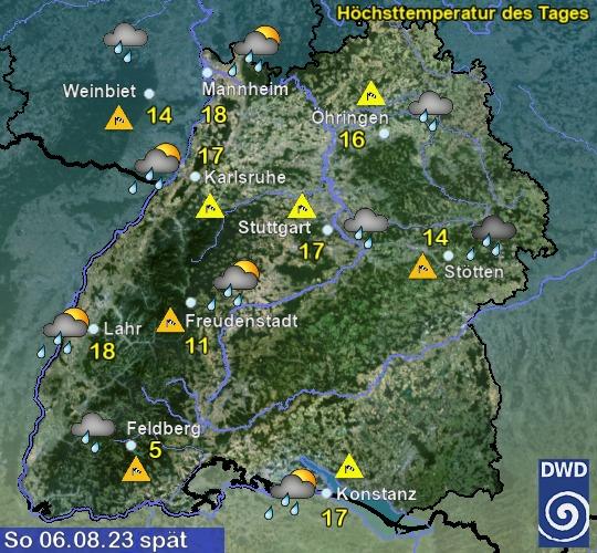 Vorhersage für heute mit Höchsttemperatur und Wetter für Region Suedwest