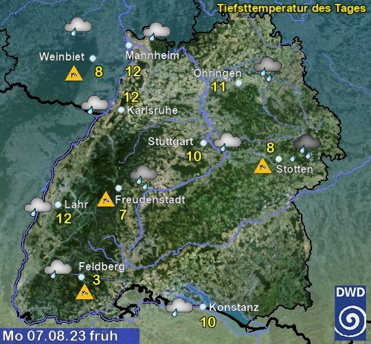 Vorhersage für morgen mit Tiefsttemperatur und Wetter für Region Suedwest