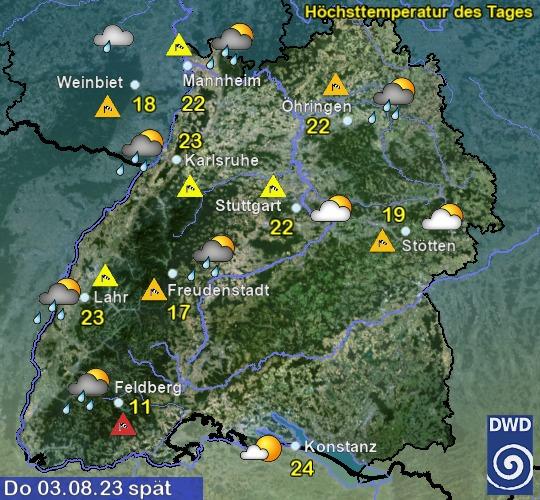 Vorhersage für morgen mit Höchsttemperatur und Wetter für Region Suedwest