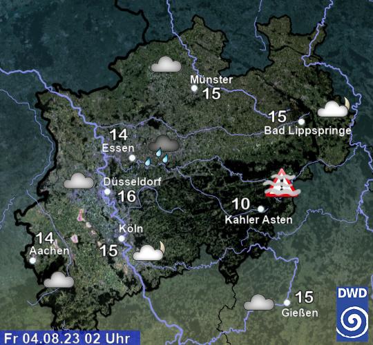 Aktuelle Vorhersage für NRW