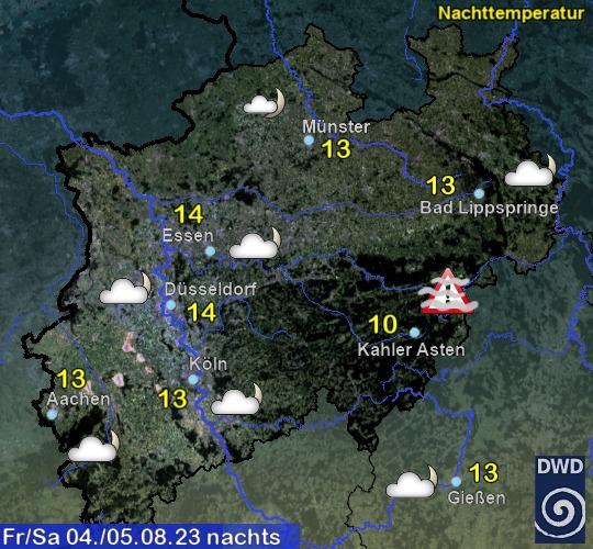 Vorhersage für heute mit Nachttemperatur und Wetter für Region West
