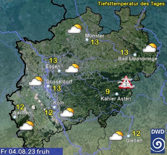 Vorhersage für morgen mit Höchsttemperatur und Wetter für Region West