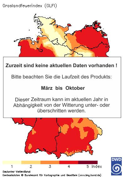 Grasland-Feuerindex heute + 1 Tag