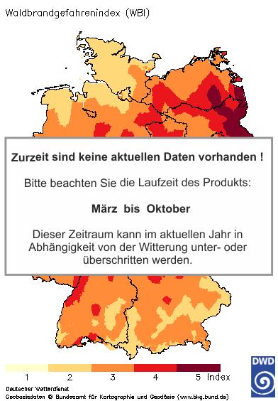 Waldbrand-Gefahrenindex heute + 1 Tag